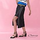 OUWEY歐薇 彈力修身活片造型假兩件鉛筆裙(黑)