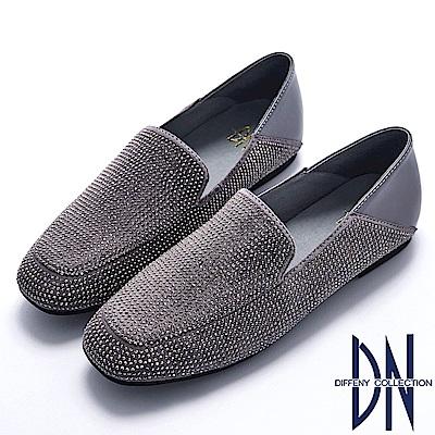 DN 注目焦點 滿鑽二穿真皮懶人樂福鞋-灰
