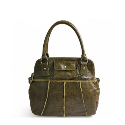 Omdi 復古漸層皮紋手提包(綠色)