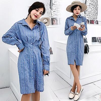 DABI 韓國風時尚襯衫裙豎條紋收腰長袖洋裝