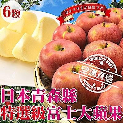 【天天果園】日本青森縣特選特大富士蘋果(每顆300g) x6顆