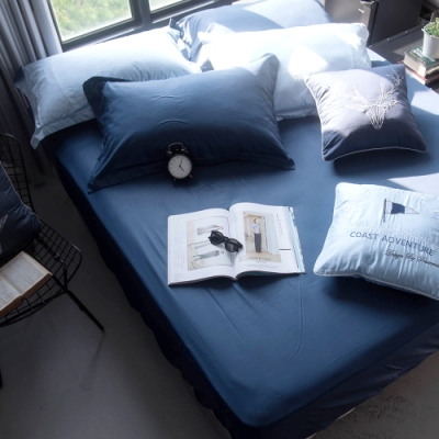 OLIVIA TWINS 深藍X淺藍 加大雙人床包歐式枕套三件組  MOC莫代爾棉 台灣製