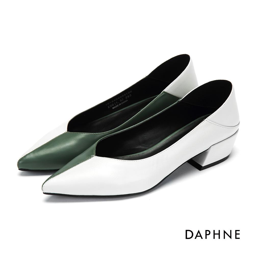 達芙妮DAPHNE 高跟鞋-拼色縫線尖頭高跟鞋-墨綠