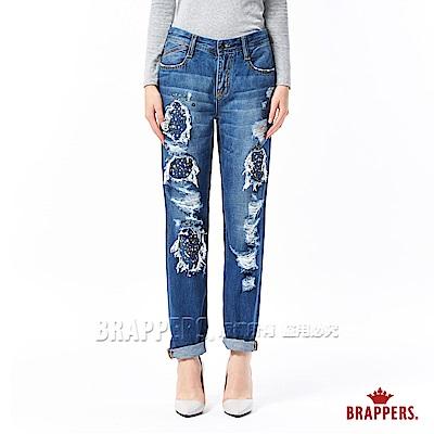 BRAPPERS 女款 Boyfriend 中低腰彈性鑲鋁片八分反摺褲-藍