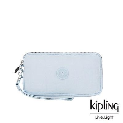 Kipling 棉花糖藍多卡層拉鍊長夾-BERNARD