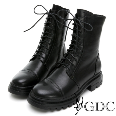 GDC-英倫風百搭素色真皮馬丁綁帶厚底短靴-黑色