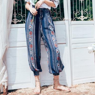 復古優雅異國風鬆緊腰燈籠褲S-XL(共二色)-維拉森林
