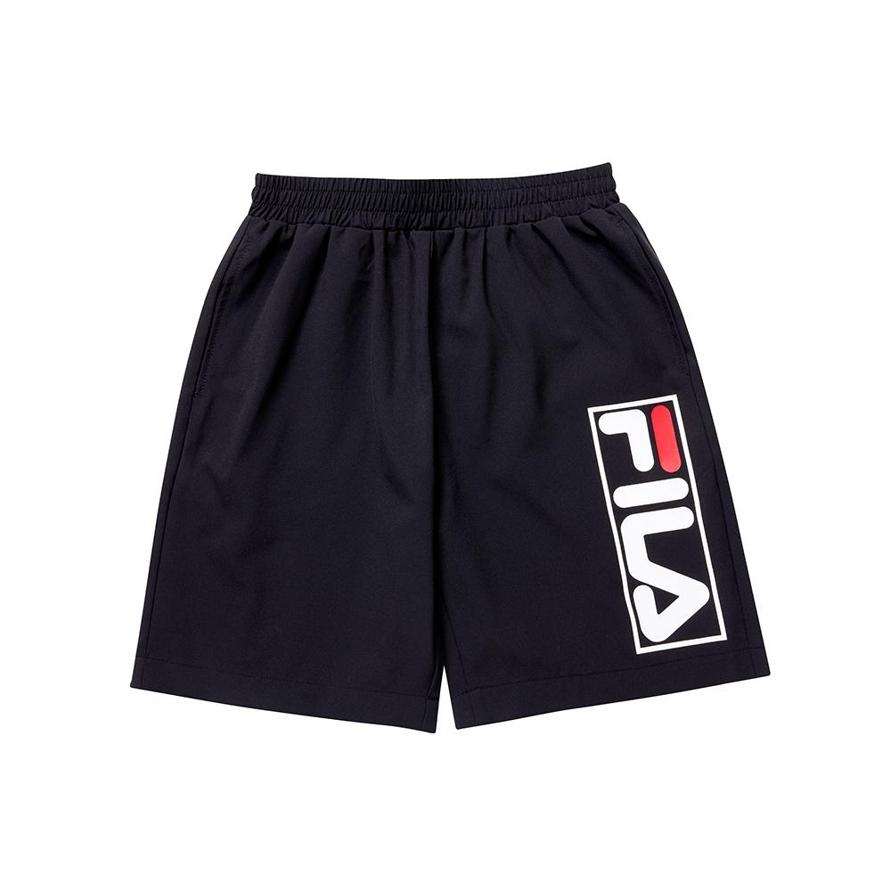 FILA KIDS 童平織5分褲-黑 1SHU-4910-BK