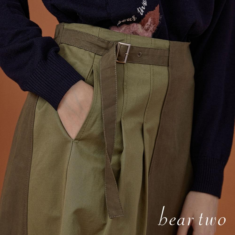 beartwo- 雙色拼接中長裙-兩色 product image 1