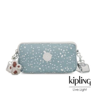 Kipling 純淨粉藍雪花側背多功能配件包-EMILIA