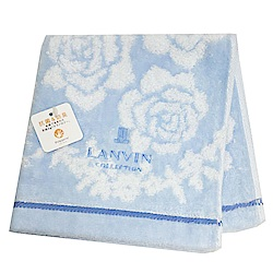 LANVIN 繽紛玫瑰蔓藤圖騰LOGO刺繡正方巾(水藍系)