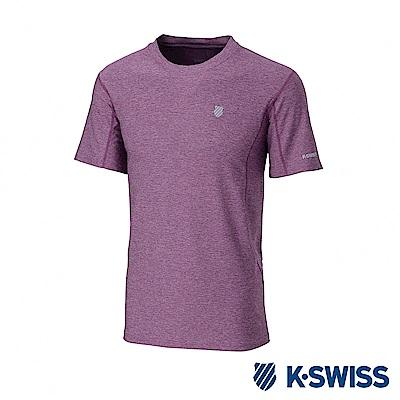 K-SWISS  PF Melange Tee排汗T恤-男-酒紅