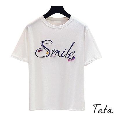 釘珠鑲鑽亮片字母刺繡上衣 TATA