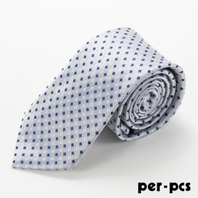 per-pcs 紳士典雅點點花紋領帶_銀D-100