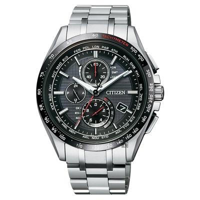 CITIZEN 星辰 鈦 限量光動能電波萬年曆腕錶-黑/41mm AT8144-51E