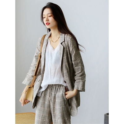 亞麻格子西裝套裝薄西服兩件套二色可選-設計所在
