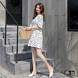 Jilli-ko 韓版V領點點雪紡連身裙- 黑/白