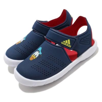 adidas 涼拖鞋 Fortaswim Stripes C 童鞋 愛迪達 魔鬼氈 快速排水 唐老鴨 中童 藍 紅 FW6051