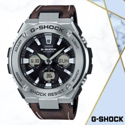 CASIO卡西歐 強悍多功能皮革錶帶雙顯錶(GST-S130L-1A)/59.1mm