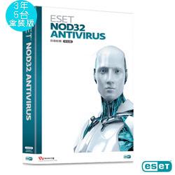 ESET NOD32 版本 防毒軟體(PC/MAC)3年5台盒裝版