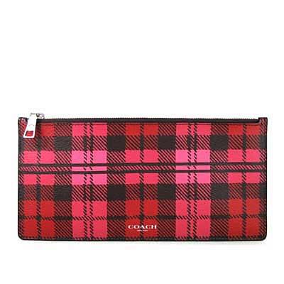 COACH 燙銀Logo鵝卵石紋全皮革格紋輕便長夾手機包(紅色)