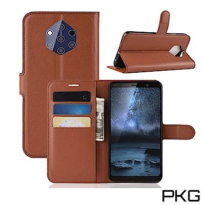 PKG Nokia 9 Pure View 皮套側翻式-精選皮套-經典款式-棕
