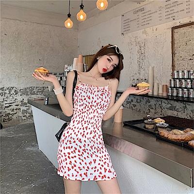 DABI 韓國風性感女神彈力吊帶裙無袖洋裝