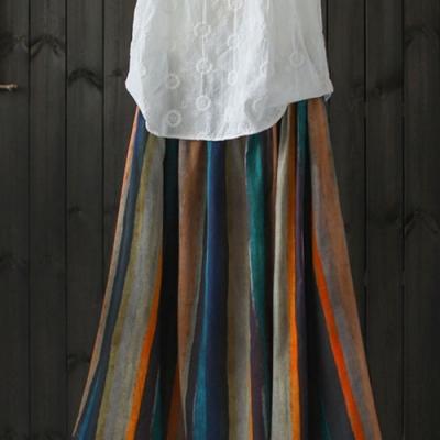 苎麻彩虹裙棉麻中長洋氣高腰裙-設計所在