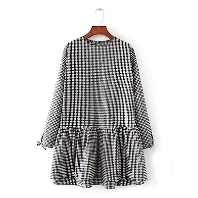 KT 格紋拼接後鈕釦連衣裙-黑