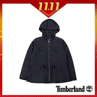 Timberland 女款黑色顯瘦防水連帽派克大衣 B2109