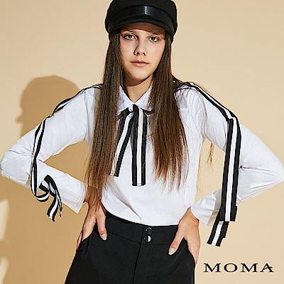 MOMA 長版條紋織帶襯衫