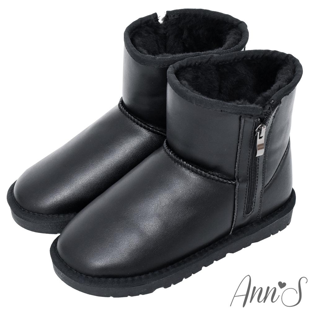Ann'S雪國必備-側拉鍊防潑水皮革短筒雪靴-黑