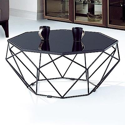 Boden-瑞莎2.7尺黑色造型玻璃大茶几-80x80x38cm