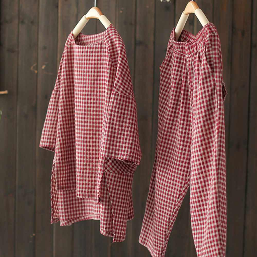 不規則棉麻格子套裝兩件套洋氣褲子t恤上衣-設計所在