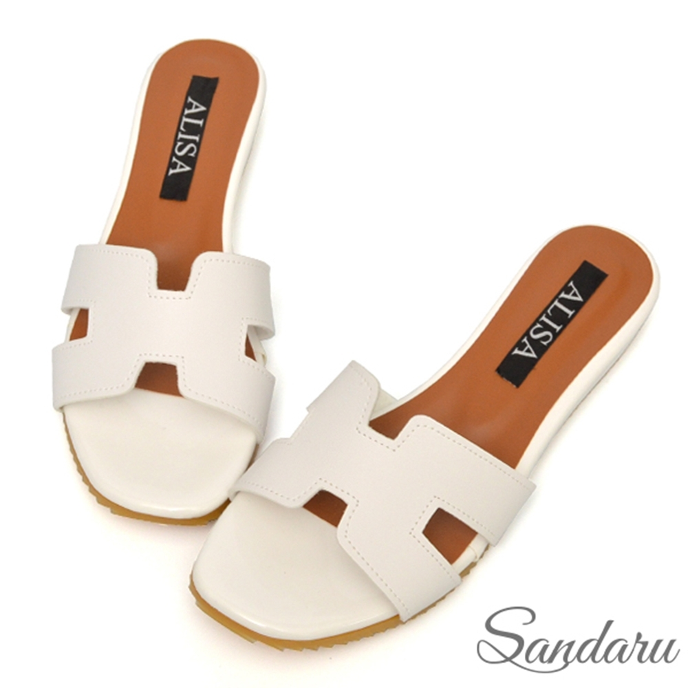 山打努SANDARU-拖鞋 MIT簡約H字平底鞋-白 (白)