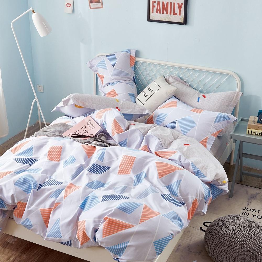 (限時下殺) La Lune台灣製精梳棉床包被套組 單/雙/大均價 (藍橘色運動風)