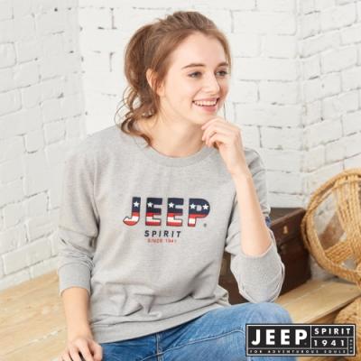 JEEP 女裝 美國國旗LOGO圖騰長袖TEE-灰色