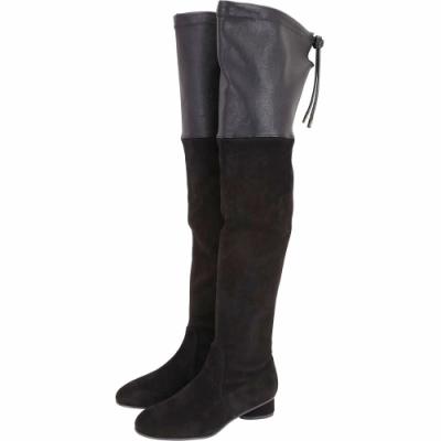 Stuart Weitzman HELENA 30 拼接皮革抽繩過膝長靴(黑色)