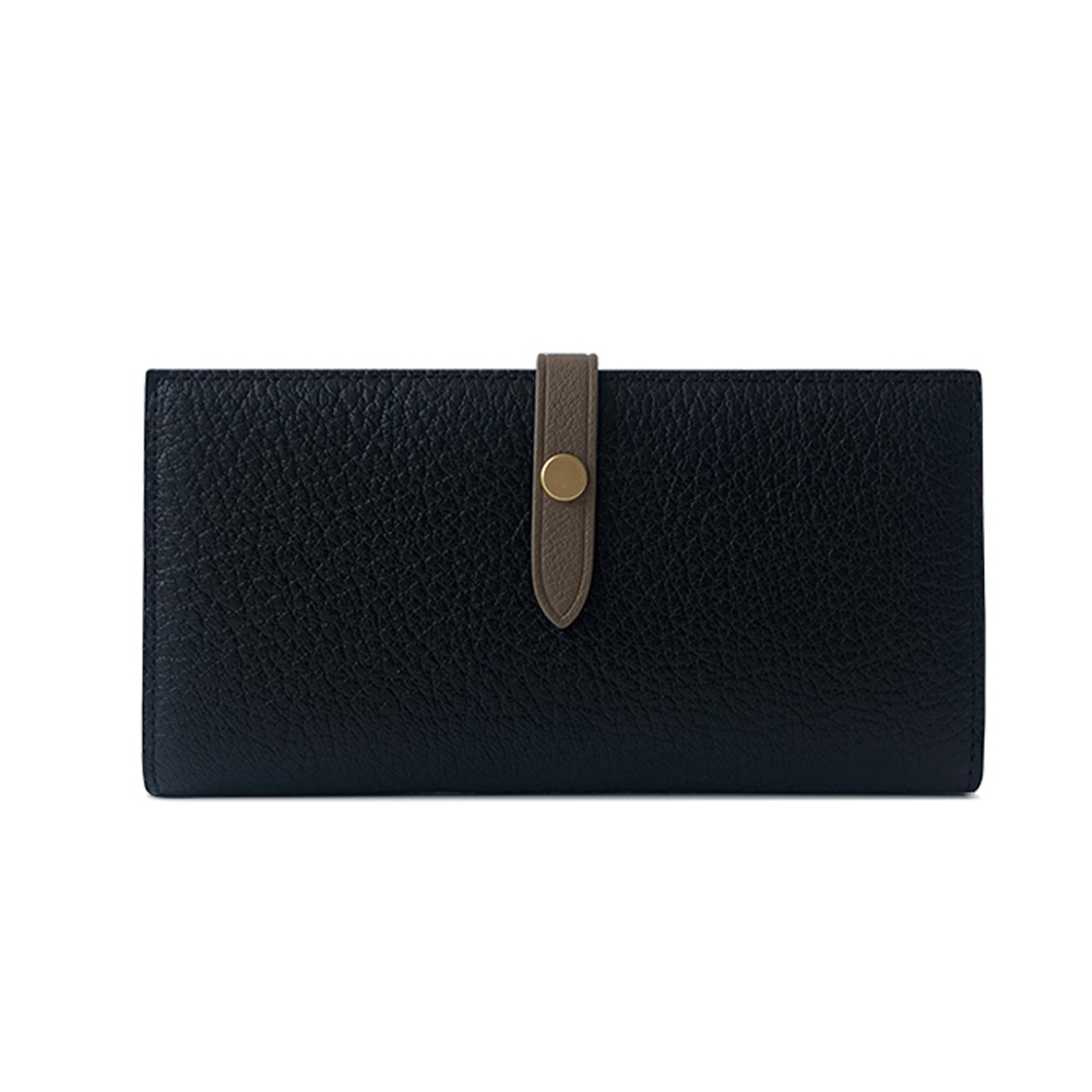 GT0016BK 韓版頭層羊皮長款搭扣皮夾/手拿包/錢包黑色