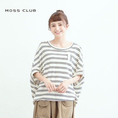 【MOSS CLUB】連袖條紋口袋-上衣(二色)