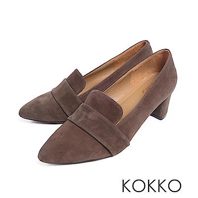 KOKKO  - 女紳風範尖頭透氣真皮樂福粗跟鞋-軍綠灰