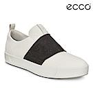 ECCO SOFT 7 LADIES簡約撞色鬆緊帶設計休閒鞋 女-白