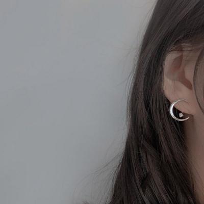 梨花HaNA 925純銀簡約純粹月光耳環