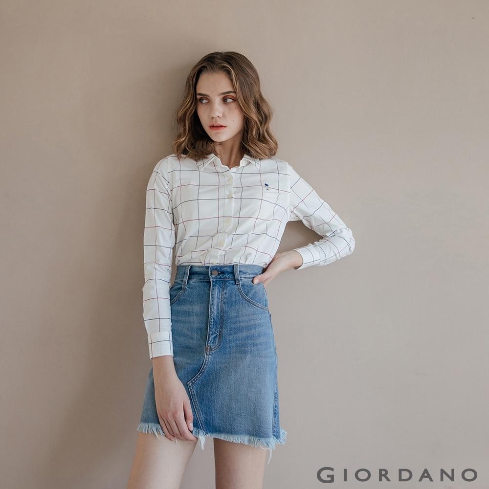 GIORDANO 女裝經典刺繡彈力牛津紡長袖襯衫-98 白/紅藍格紋