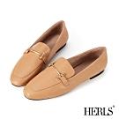 HERLS樂福鞋-全真皮兩穿一字釦環平底鞋樂福鞋-奶茶色