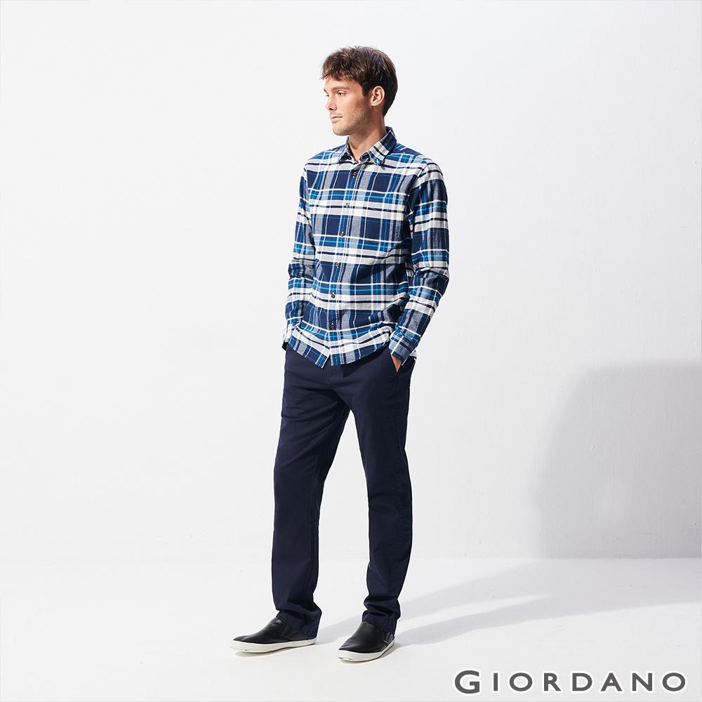 GIORDANO 男裝彈力修身錐形長褲-66 標誌海軍藍