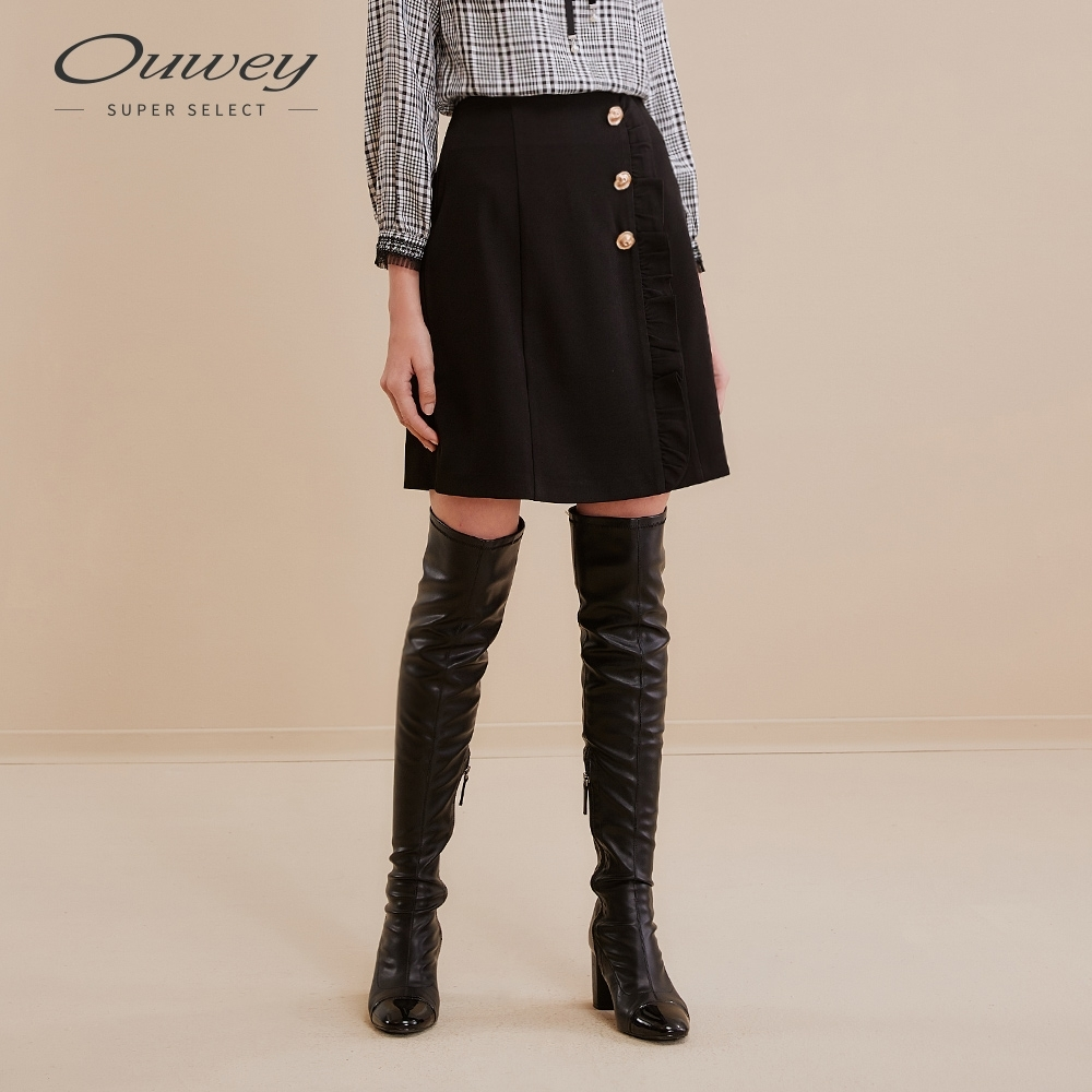 OUWEY歐薇 簡約荷葉拼接A字裙(黑/咖)