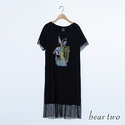 beartwo 假兩件洞洞英文字印圖洋裝(二色)