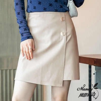 Mandy國際時尚 秋 高腰顯瘦A字裙 PU皮短裙半身裙(2色)