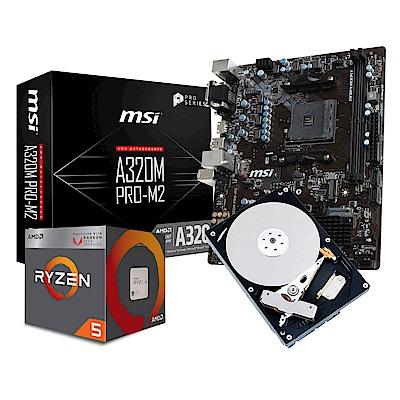 微星A320M PRO M2+AMD Ryzen5 2400G+1TB套餐組